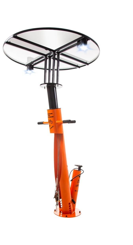 samoobsługowa stacja naprawy rowerów z daszkiem